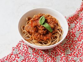Vegetable loaded spaghetti bolognese